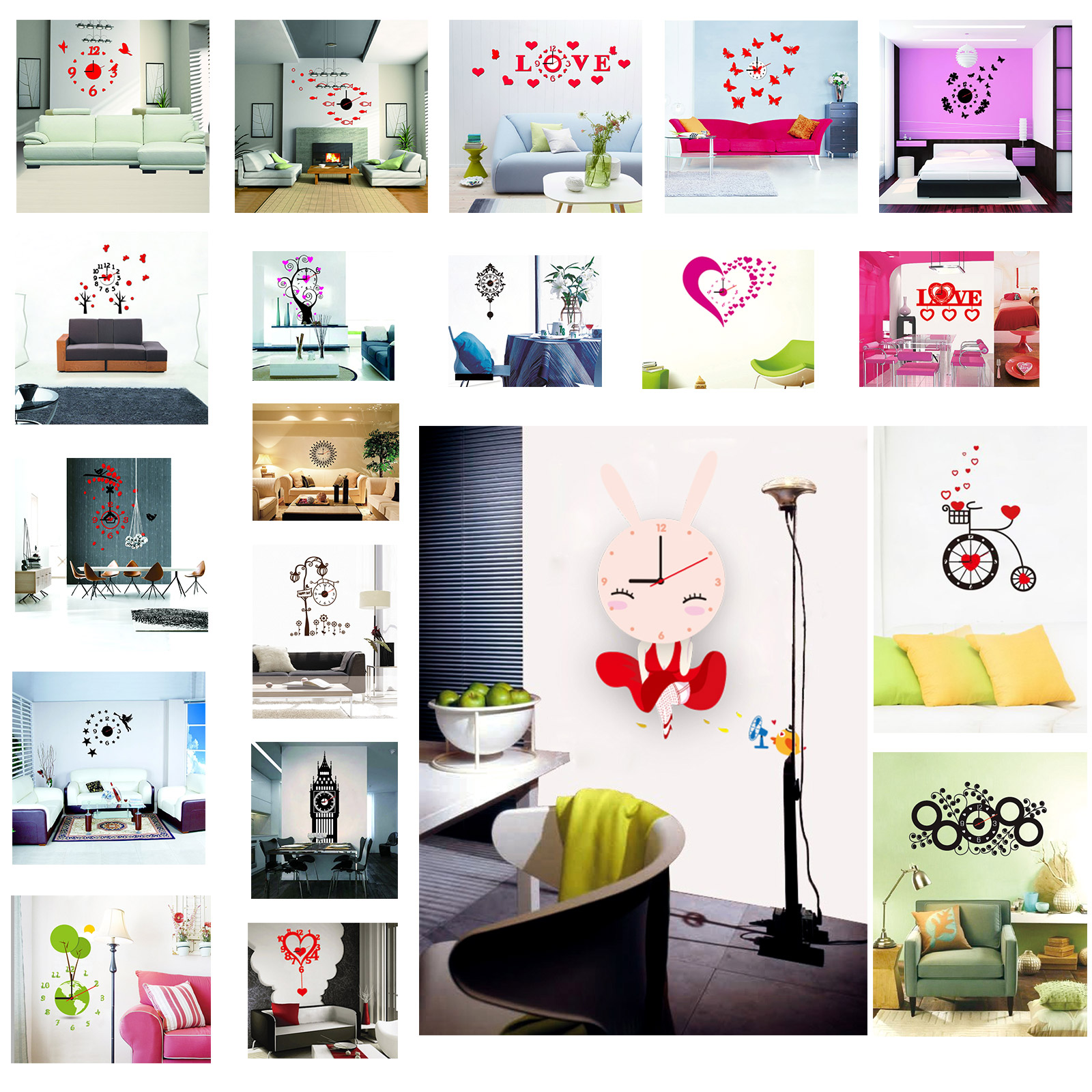 New Home Decor DIY Fashion Wall Clock Wall Decal Sticker Real Clock 3D Modern