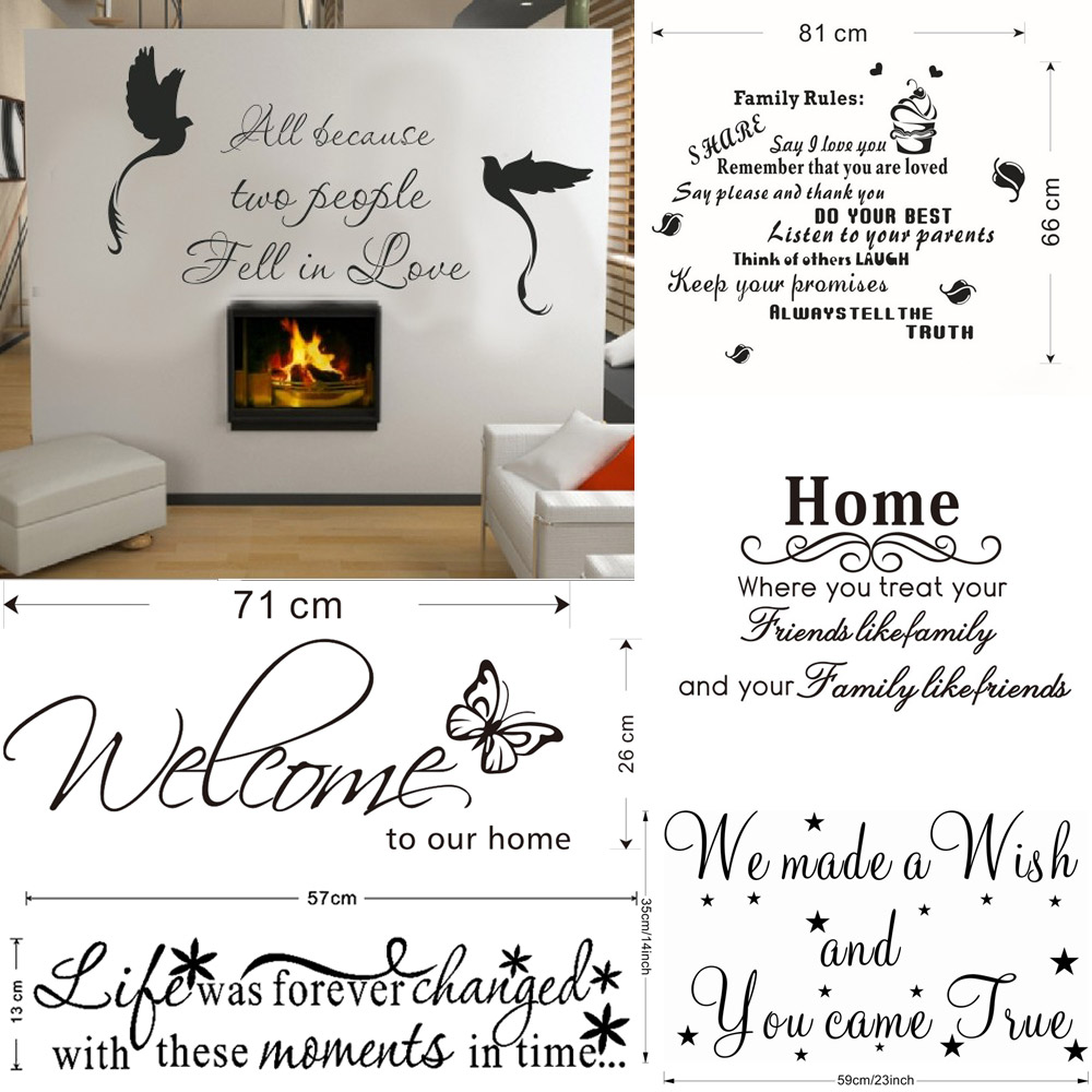 Home Wall Sticker Quote Love Words Art Large Decor Room